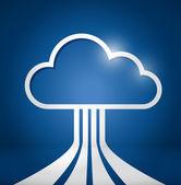 Ilustración de las conexiones de red de computación en la nube — Foto de Stock