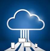 Ilustración de red electrónica computación en la nube — Foto de Stock