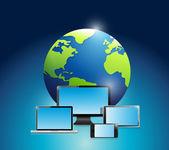 International globe and electronics. — Stock Photo