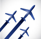 Airplanes flying in the same destination. — Stock Photo