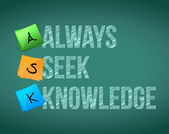 Always seek knowledge message illustration — Stock Photo