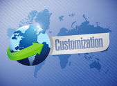 Globe with a customization message illustration — Stock Photo