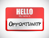 Hello my name is opportunity name tag. — Stock Photo