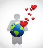 Love the earth illustration design — Stok fotoğraf