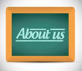 About us message written on a blackboard. — Stock Photo