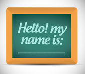 Hello my name is message on a chalkboard. — Stock Photo