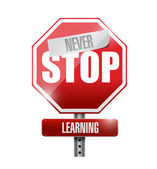 Never stop learning road sign — Stock Photo