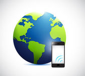 Globe and phone with signal illustration — Stok fotoğraf