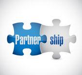 Partnership puzzle pieces concept illustration — Stock Photo