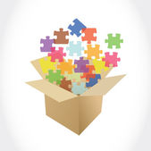 Brown box and puzzle pieces illustration — Stock Photo