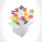 White box and puzzle pieces illustration — Stock Photo