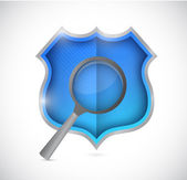 Shield and magnify glass illustration design — Photo