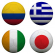 Foto Stock: Soccer balls with group C teams flags, Football Brazil 2014