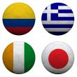 Stock Photo: Soccer balls with group C teams flags, Football Brazil 2014