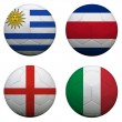 Stock Photo: Soccer balls with group D teams flags, Football Brazil 2014. iso