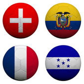 Soccer balls with group E teams flags, Football Brazil 2014. iso — Stock Photo