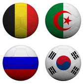 Soccer balls with group H teams flags, Football Brazil 2014. iso — Stock Photo