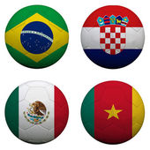 Soccer balls with group A teams flags, Football Brazil 2014 — Stock Photo