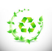 Green leaves around a recycle symbol. illustration — Stock Photo