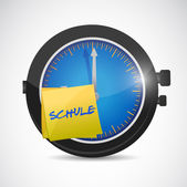 Clock with a sticky note school as a symbol — Stock Photo