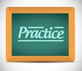 Practice message on a chalkboard. illustration — Stock Photo