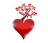 Red hearts tree illustration design — Foto Stock