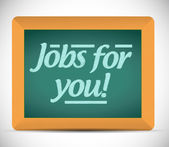 Jobs for you message written on a chalkboard. — Stock Photo
