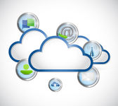 Cloud and icons illustration design — Stock Photo