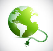 Green globe and cable connection. illustration — Stock Photo
