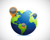 Globe and locator illustration design — Stock Photo