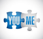 You and me puzzle illustration design — Stock fotografie