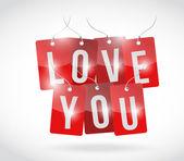 Amor que você assinar tags design ilustração — Fotografia Stock