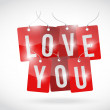 Love you sign tags illustration design — Stok fotoğraf #39582411