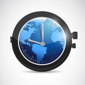World map watch illustration design — Stock Photo