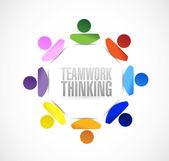 Teamwork thinking people cycle illustration design — Stock Photo