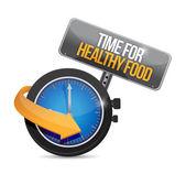 Tempo per il cibo sano. orologio design illustrazione — Foto Stock