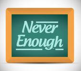 Never enough on a chalkboard. illustration design — Stock Photo