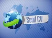 Send cv message world map illustration — Stock Photo