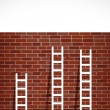 Stock Photo: Set of ladders and brick wall. illustration design