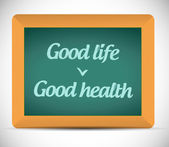Good life, good health chalkboard illustration — Stock Photo