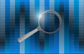 Magnify glass and binary illustration — Stockfoto