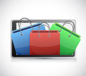 Tablet and shopping carts illustration design — Stock Photo