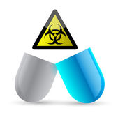 Pill and bio hazard symbol illustration design — Stock Photo