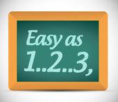 Easy as 1, 2, 3 written on a chalkboard. — Stock Photo
