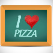 Stock Photo: I love pizzwritten on chalkboard. illustration