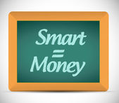 Smart equals money written on a chalkboard. — Stock Photo