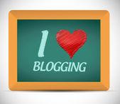 I love blogging written on a chalkboard. — Stock fotografie