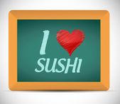 I love sushi written on a chalkboard. illustration — Stock Photo