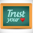 Stock Photo: Trust your heart sign blackboard illustration