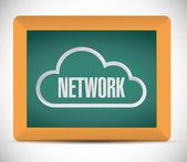 Cloud network sign on a blackboard. illustration — Stock Photo